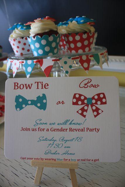 gender revealShower Ideas, Gender Reveal Parties, Bows Ties, Bow Ties, Cute Ideas, Bowties, Parties Ideas, Baby Shower