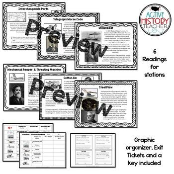 Industrial Revolution Inventions Stations with Graphic