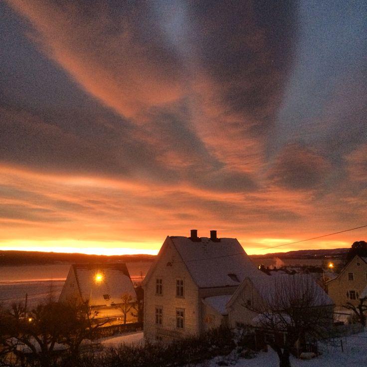 Sunrise in february. Gjøvik. Mjøsa.