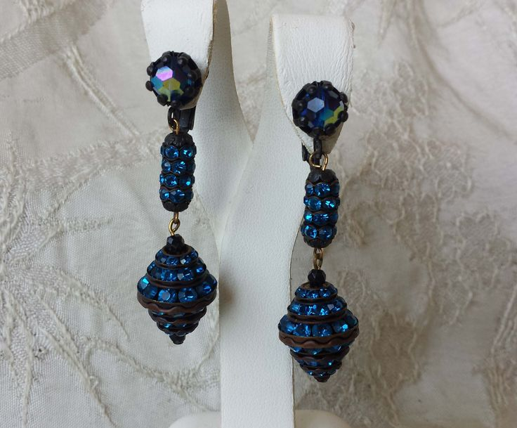 """Vintage Colorful Blue Rhinestone Costume Jewelry Clip on Earrings 2.25"""""""