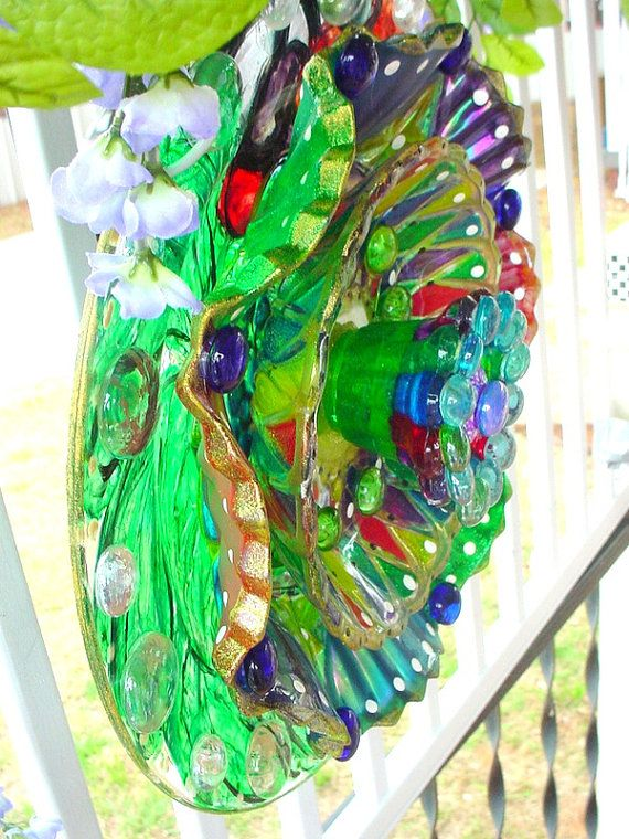 Artsy Kaleidoscope Glass Suncatcher Glass Plate Flower