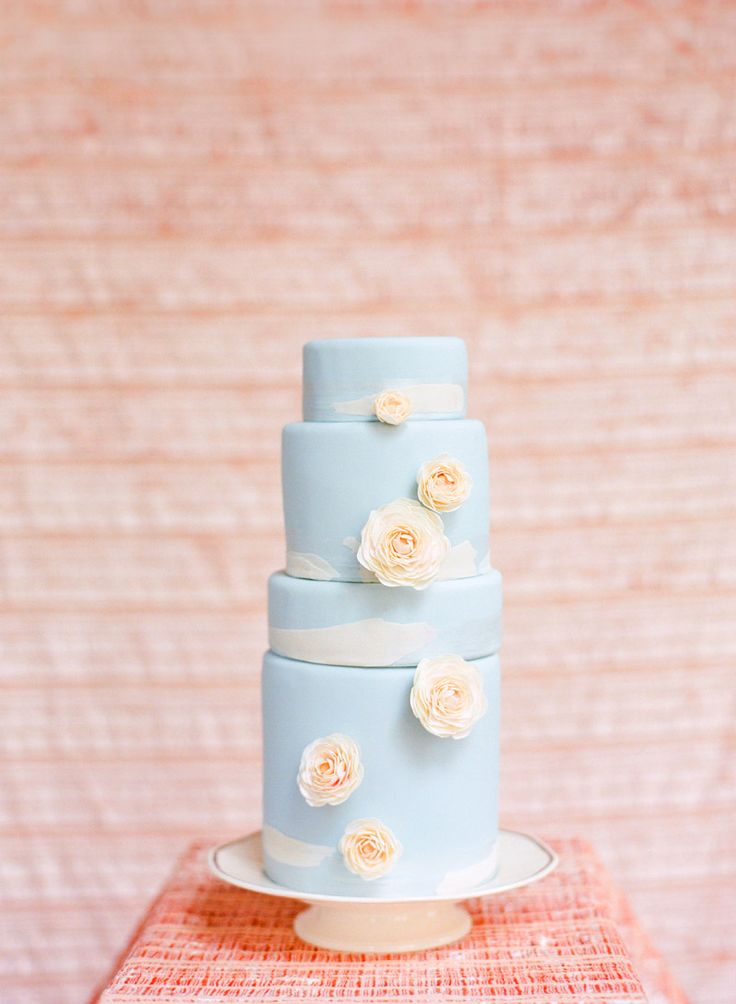 by Corbin: Baby Blue, Peaches Cakes, Cakes Shops, Cakes Ideas, Pink Cakes, Blue Wedding Cakes, Blue Cakes, Blue Weddings, Birthday Cakes
