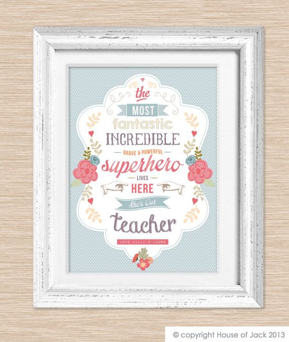 personalised art print superhero teacher via etsy - Teacher Pictures To Print
