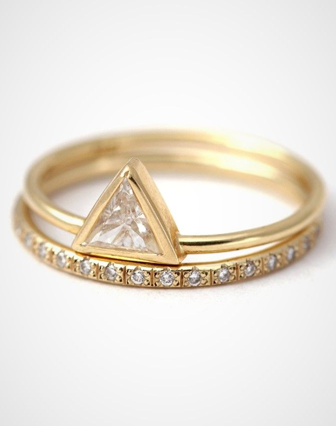 Trendy Wedding Ring Set Triangle Cut Diamond Ring Set Stacking Rings Set Diamond Ring