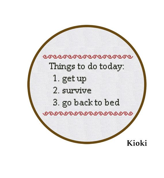 Cross Stitch Pattern To Do List Instant Download