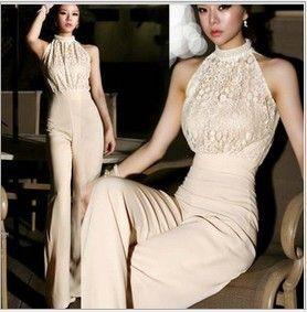 Korean Fashion Star Elegant Jumpsuit Women 2013 Rompers Ladies Jumpsuit  Halter Pearl Lace Patchwork Jumpsuits&Rompers S/M $24.99