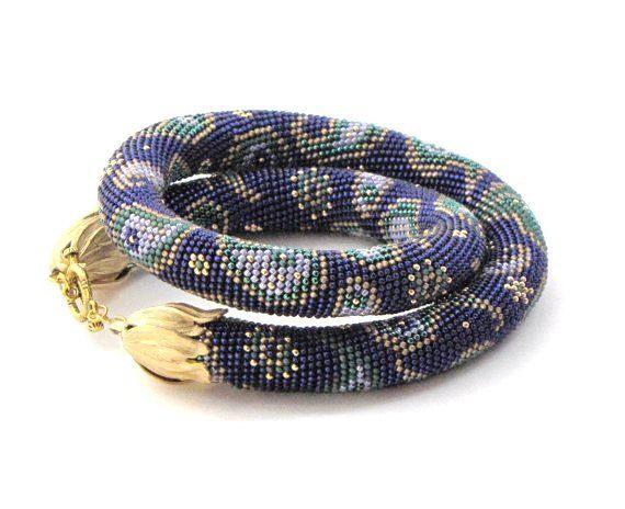 Paisley,Beaded crochet necklace,Bead Crochet Rope,blue necklace,purple necklace,crochet necklace,Bead crochet necklace,seed beaded necklace