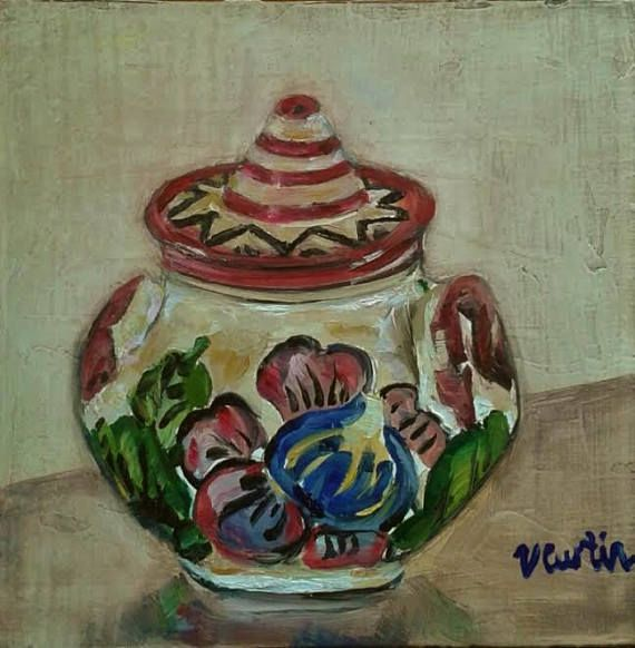 Portuguese Pot  6 x 6 inch original oil painting by Vicky