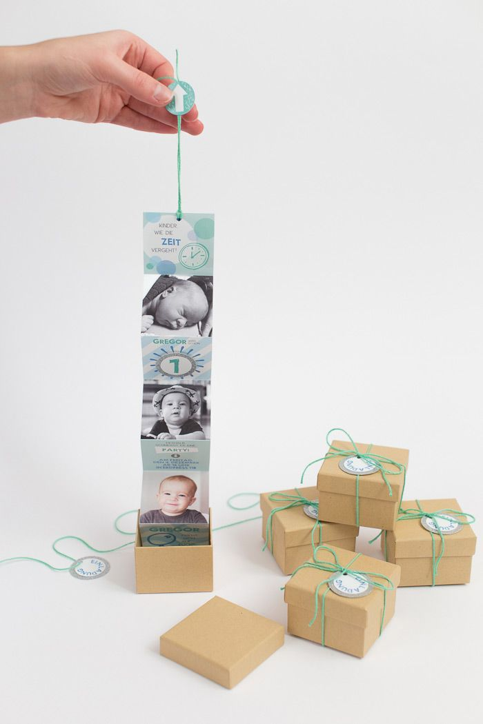 Baby birthday invitation box