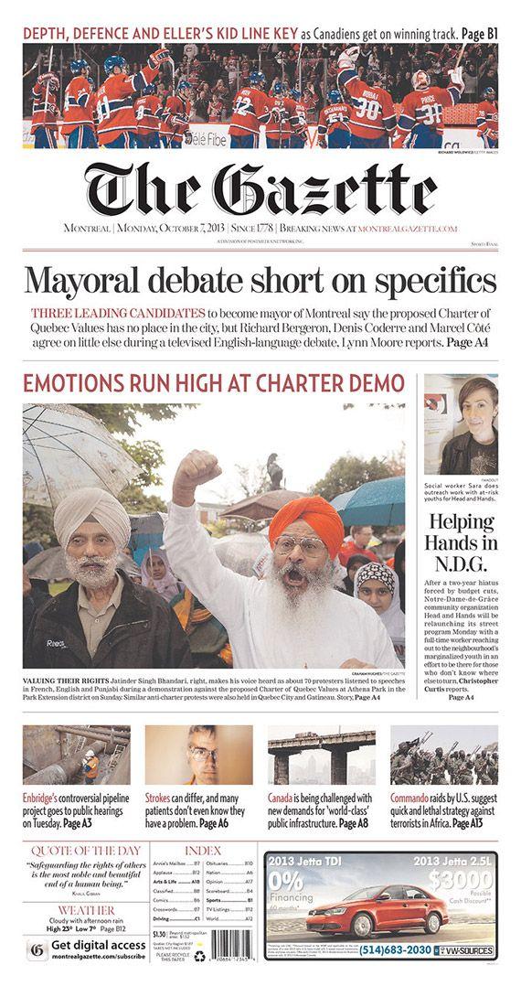 Gazette Montreal diario periódico portada Canadá