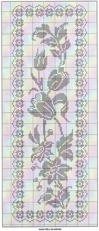 Floral filet crochet table runner chart: