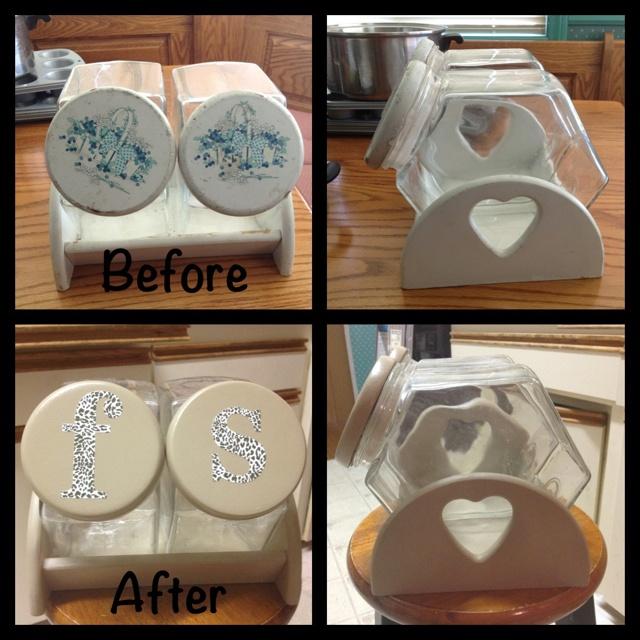 Revamped my Grandma's flour & sugar containers.