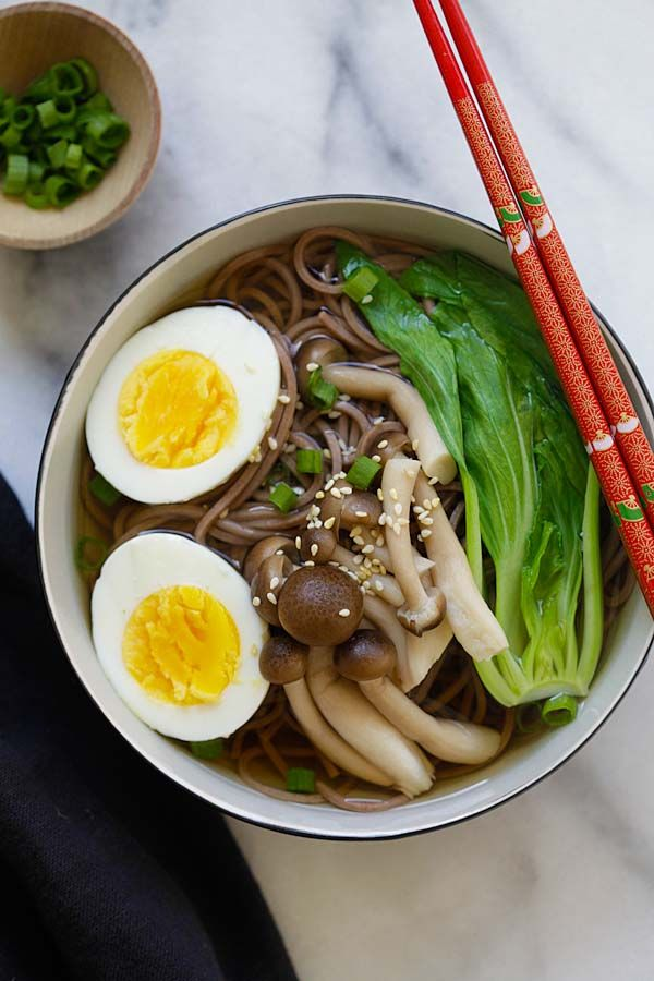 Soba Noodle Soup - the easiest and quickest Japanese soba noodle soup ever. Takes 15 minutes and restaurant quality, so delicious   rasamalaysia.com