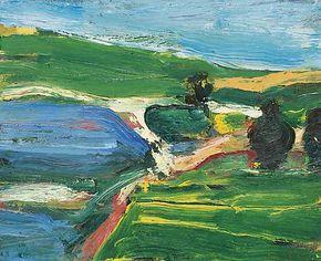 Richard Diebenkorn, Landscape with Three Trees, 1959, Oil on panel -John Berggruen Gallery