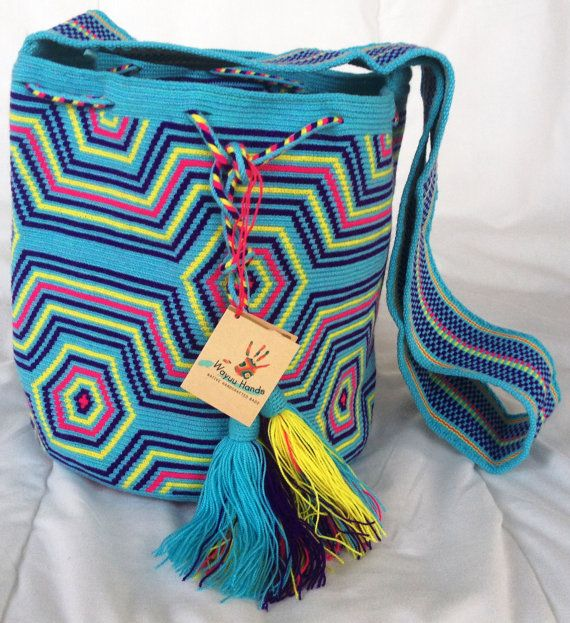Wayuu tribe mochila bags (handmade) JIITPAI: light blu, purple, yellow and strong pink.