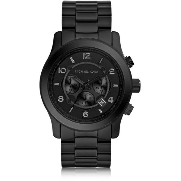 Michael Kors Runway Black Stainless Steel Men's Chrono Watch (€240) ❤ liked on Polyvore featuring men's fashion, men's jewelry, men's watches, mens watches, mens chronograph watch, mens chronograph watches, mens watches jewelry and michael kors mens watches