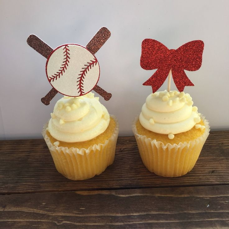 Baseballs or Bows Gender Reveal / Baseballs or Bows Cupcake Toppers / Baseball or Bows Gender Reveal Cake Decorations / Gender Reveal Cupcak by LittleParteeShoppe on Etsy