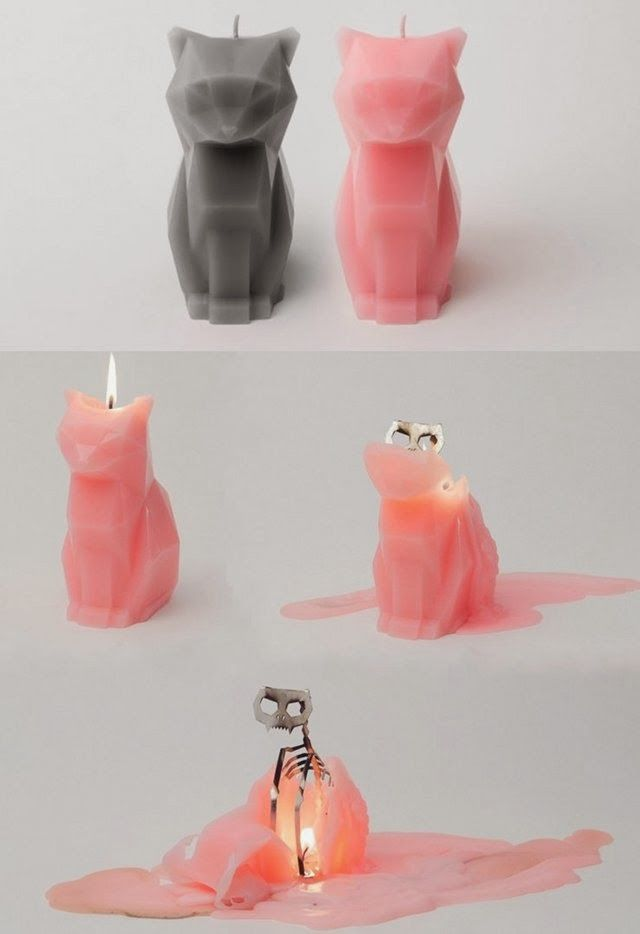 Cat candle with a skeleton!