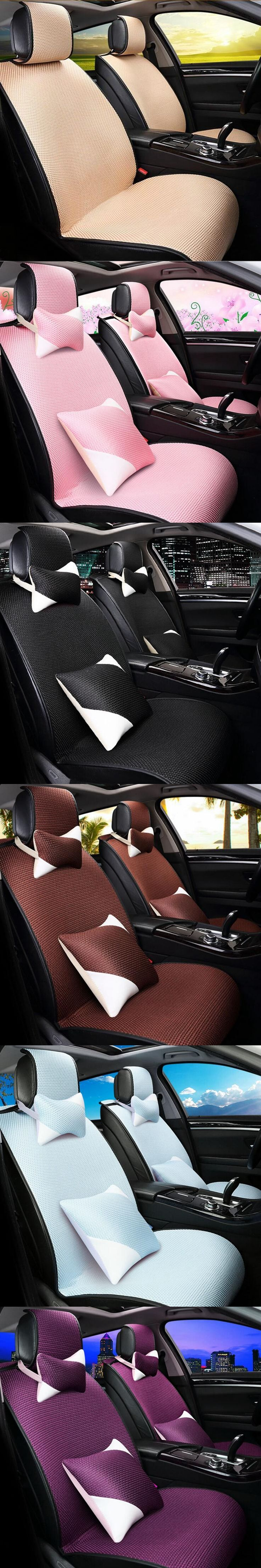 LUNASBORE Car Seat Covers Pad fit SedanSeats Cushion Luxurious Universal Styling Compatible with airbags and Rear Cup holder