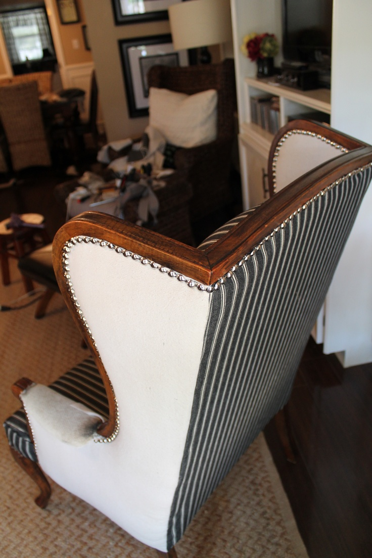Nice Beautiful My Goodwill Wingback Make Over Using Dropcloth And Charcoal Grey  Pinstriped Denim Round With Furniture Stores In Round Rock