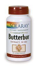 Solaray - Butterbur, 60 capsules by Solaray. Save 35 Off!. $14.25. Butterbur is intended to provide nutritive support for normal smooth muscle tissue function. The German Commission E Monograph categorizes Butterbur as an antispasmodic.