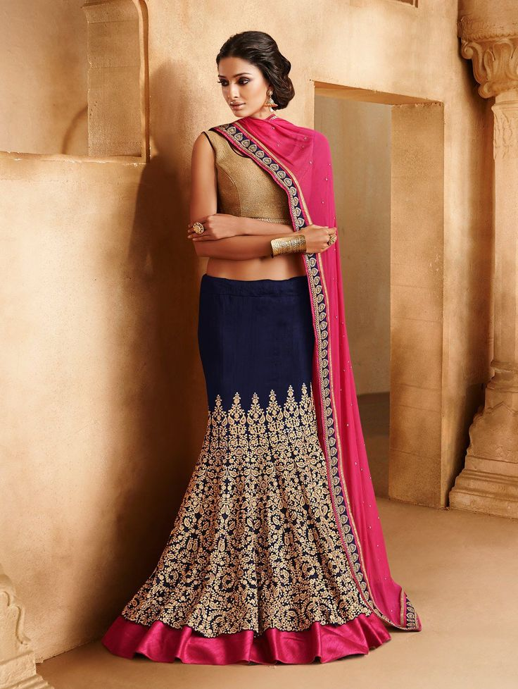 Look stunning in this very elegant Pink And Blue Georgette Chiffon Lehenga Saree With Embroidery And Diamond Work. Occasion: Reception, Wedding, Party Blouse Style: Contrast Blouse Work: Self Blouse Color: Golden Buy here: http://bit.ly/1ay2JT6  INR. 8,445