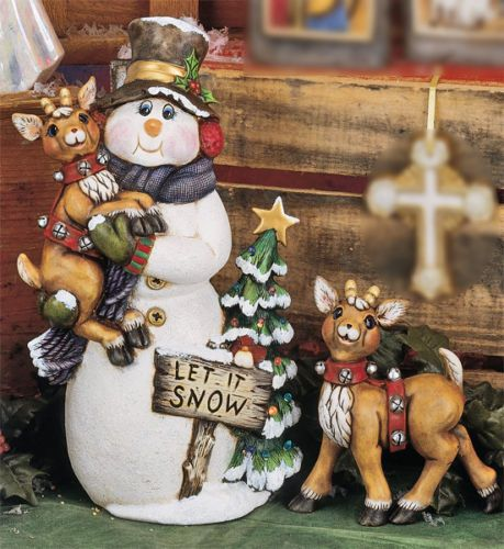 Ceramic-Bisque-Snowman-W-Five-Deer-Sleigh-Ready-To-Paint