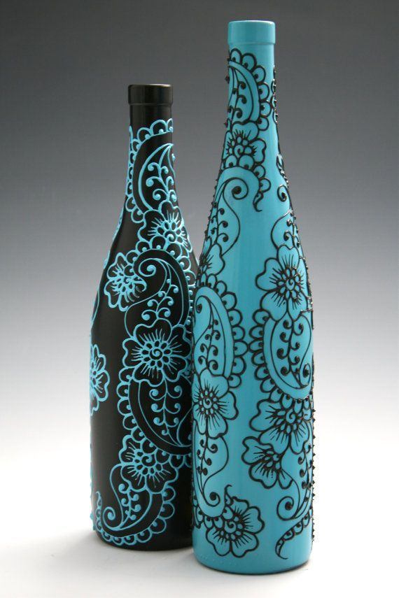 Set of 2 Hand Painted Wine bottle Vases Turquoise by LucentJane: