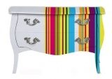 baroque chest in colourful handpainted striped design