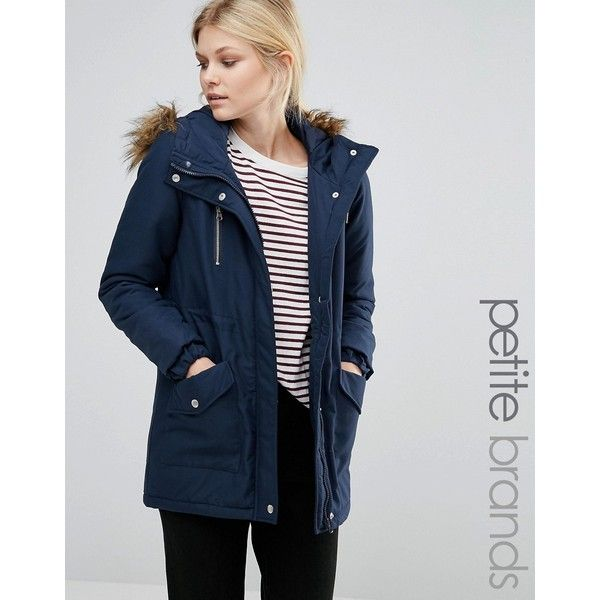 Noisy May Petite Parka Jacket With Faux Fur Trim Hood ($54) ❤ liked on Polyvore featuring outerwear, jackets, navy, petite, navy parka jacket, zip pocket jacket, lined jacket, petite jackets and fur-lined parkas