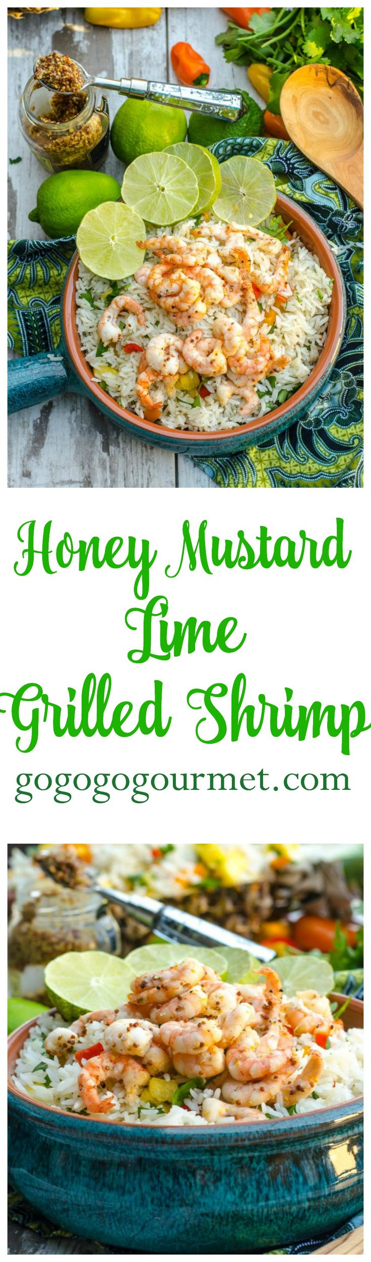 Perfect as an easy appetizer, or pair it with my Pineapple Cilantro Rice for a tropical dinner! Honey Mustard Lime Grilled Shrimp | Go Go Go Gourmet @gogogogourmet