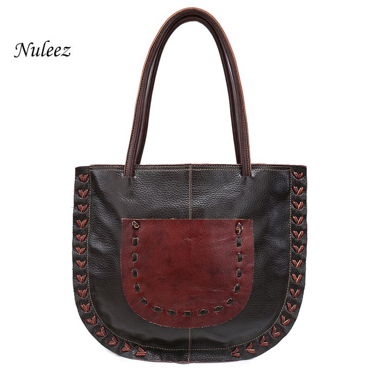 Nuleez Shell Women Genuine Leather Handbags Handmade Shoulder Bag Soft Real Cow Leather Big Tote Bags  Bolsa Feminina 1212