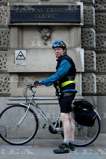 Roger Allam as John Mallory QC with his bicycle on the set of The Jury, 2011. (ITV/REX)