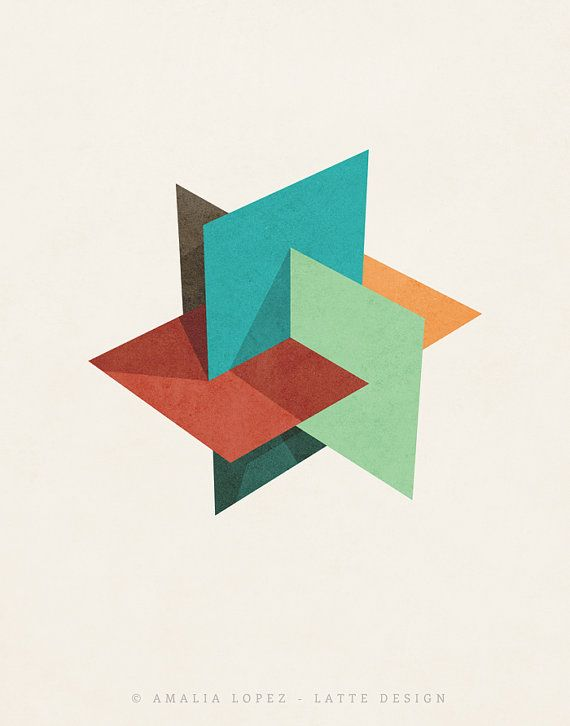 Icosahedron 4. Retro wall art Geometric art print by LatteDesign