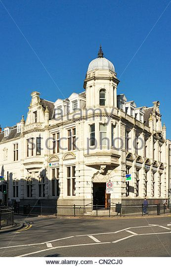 Rugby town center, Lloyds Bank building, Church Street, the Midlands, Warwickshire, UK - Stock Image