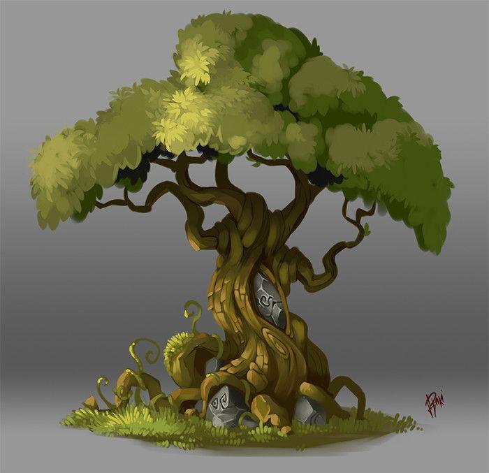 Concept Art. Tree 003, Raki Martinez on ArtStation at https://www.artstation.com/artwork/BvYmr