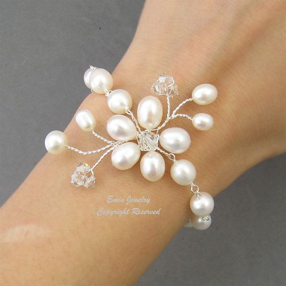 Bracciale bianco perla Bridal WEdding fresca acqua di adriajewelry