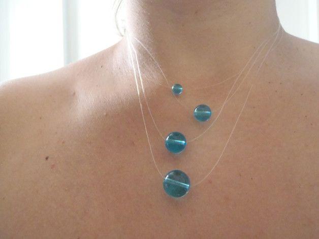 Collane multifili - collana blu girocollo vetro turchese regalo natale - un prodotto unico di LaSoffittaDiSte su DaWanda