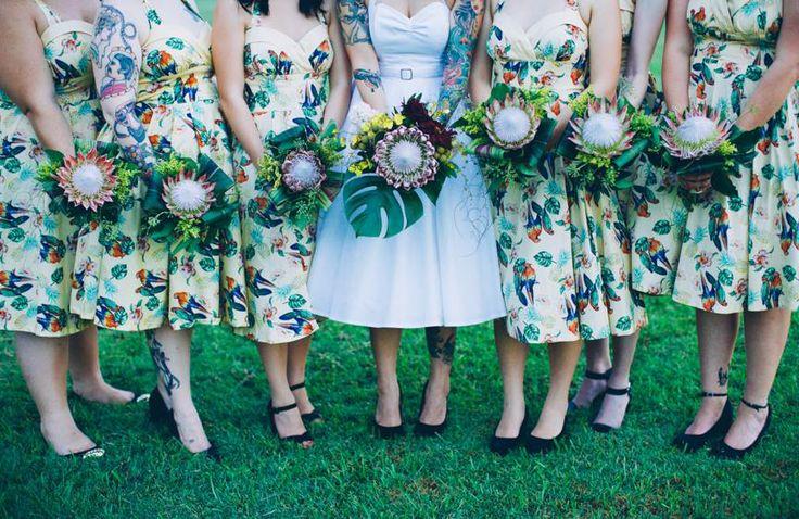 Tropical bridal party Bouquets by Bonnie's Bits & Blooms Email: bonniesbitsandblooms@hotmail.com