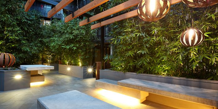The bamboo courtyard with timber pergola pinned to garden for Courtyard designs melbourne