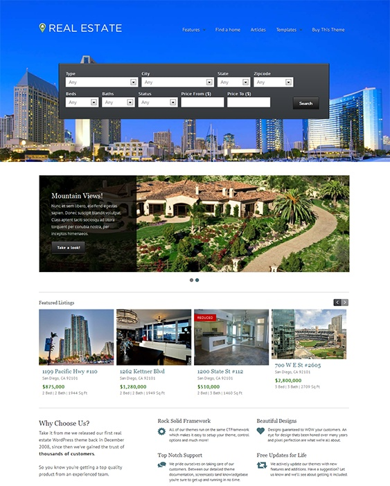 This WordPress real estate theme includes a drag & drop homepage builder, a responsive design, multiple layout options, SEO-friendly code, 14 custom widgets, 50+ custom backgrounds, social media integration, and lots of other features.