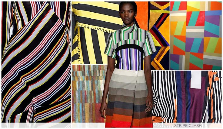 STRIPE CLASH Another story inspired by the womenswear market; The stripe story for fall is erratic, multi directional and multi colored. Variegated and diagonal stripes play a strong part.