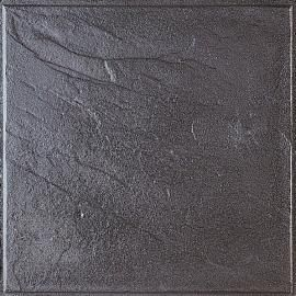 PI-N. Formato: 40x40x4 cm. Composición: baldosa de hormigón de textura pizarra y color negro. Uso exterior. #terrazo #terrazzo #pavimento #baldosa