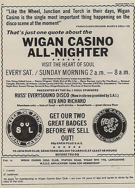 "Wigan Casino poster.  Good old ""Northern Soul"" all nighters.  Now the absolute mutt's nuts in Japan.  They are currently  obsessed with what was originally the British obsession with NS from the 1970's."