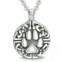 "Amulet Celtic Shield Knot and Wolf Paw Protection Charm Magic Powers Triangle Energy White Cat's Eye Gem Pendant on 22"" Necklace"