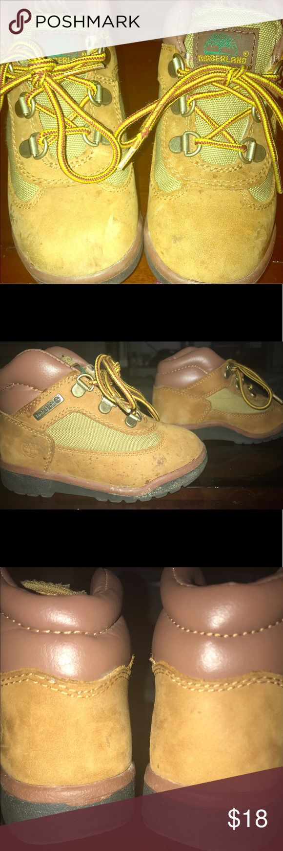 Size 9.5 Toddler Timberland Boots Size 9.5 Toddler Timberland Boots - These boots are in good shape, minor spots on the sides from wearing outside. But they should last your Toddler all winter! Timberland Shoes Boots