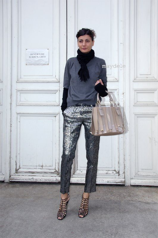 I love the layered tops, the garconne fit of the trouser, and the cage sandals (she wears these a lot). I'd swap out the shine of the pants for something matter, but hey... Giovanna Battaglia