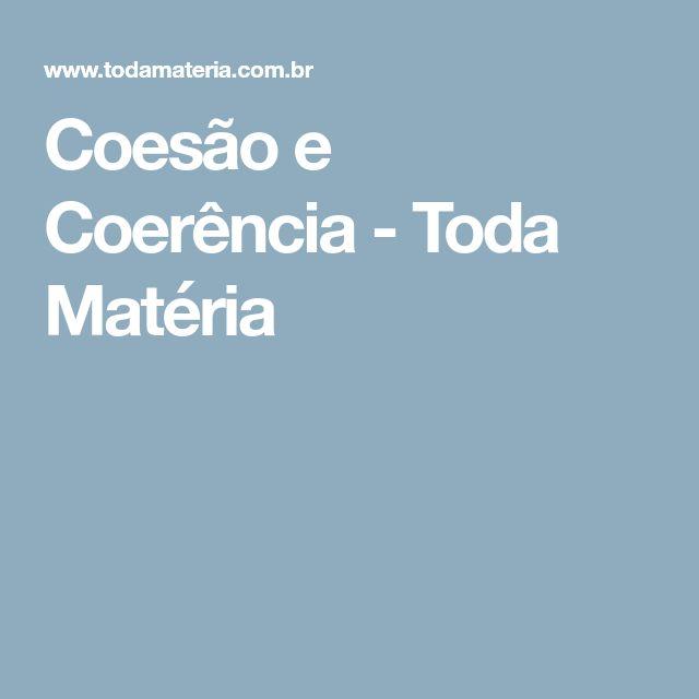 Coesão e Coerência - Toda Matéria