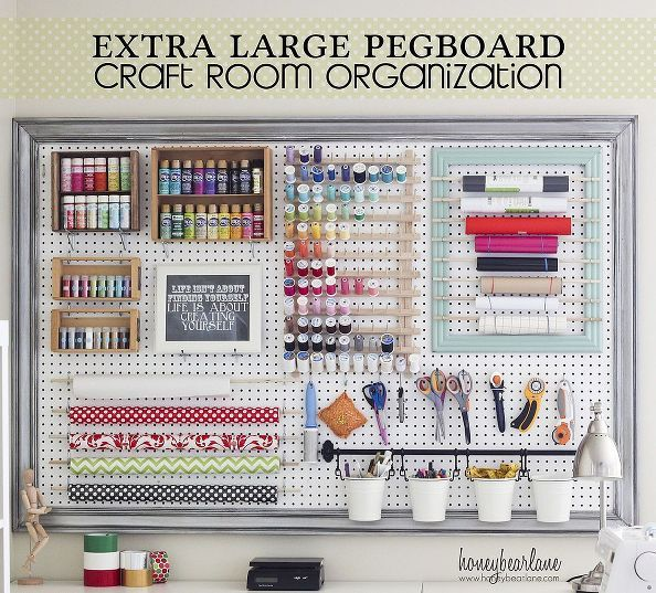 DIY Low Cost Easy to Make Extra Large Peg Board  for Craft Organization !!