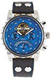 Burgmeister Limoges BM136-933 Herren Automatik Uhr Edelstahl/bicolor blau offene Unruh Datum/Tag/Monat/24h Leder schwarz